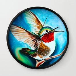 Hummingbird Landing Color Cyan Art Wall Clock