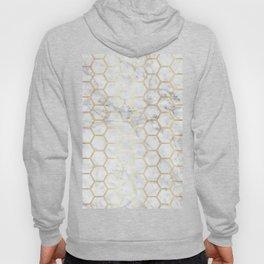 Geometric Honeycomb Pattern - Marble & Gold #767 Hoody