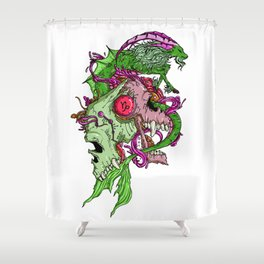 Capricorn Skull Zodiac Sign For December and January Birth Day Gift Shower Curtain
