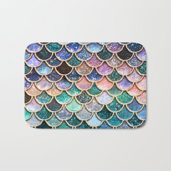 Multicolor pink and aqua mermaid scales - Beautiful abstract  glitter pattern Bath Mat