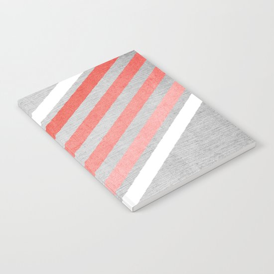Coral Gradient Chevron on Silver Grey Wood Notebook