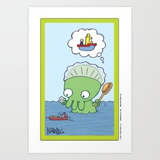 Bathtime for Baby Thulhu! Art Print