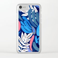 Blue and Purple Leaves pattern Clear iPhone Case