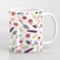 vegetable Mugs featuring Vegetable by Ceren Aksu Dikenci