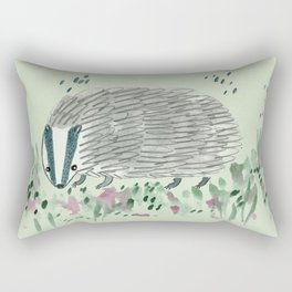 Badger in Grass Rectangular Pillow