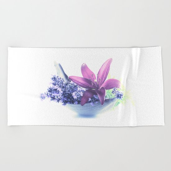 Summer flower pattern lilies and lavender Beach Towel