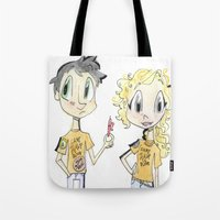 percy jackson Tote Bags featuring Percy Jackson and Annabeth Chase by Trillatia