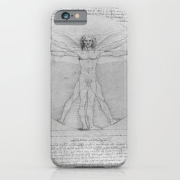 Leonardo da Vinci Vitruvian Man with Wings Study of Angels iPhone Case