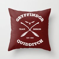 quidditch Throw Pillows featuring Gryffindor Quidditch by Sharayah Mitchell