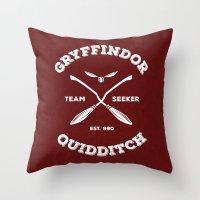 gryffindor Throw Pillows featuring Gryffindor Quidditch by Sharayah Mitchell