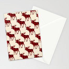 Buffalo Plaid Rustic Moose Stationery Cards