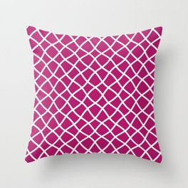 Berry pink and white curved grid pattern Throw Pillow