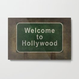 Welcome to Hollywood roadside sign illustration Metal Print