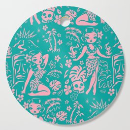 Tiki Temptress in Pink and Turquoise Cutting Board