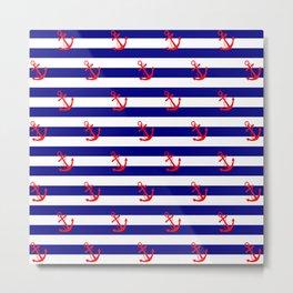 blue stripes anchor pattern Metal Print