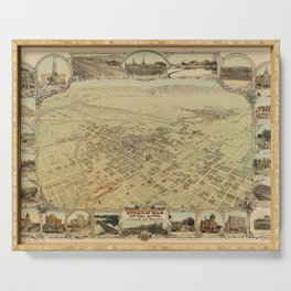 Vintage Pictorial Map of Bakersfield CA (1901) Serving Tray