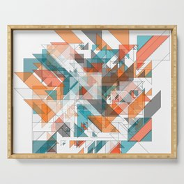 Triangles architecture: modern 2D art Serving Tray