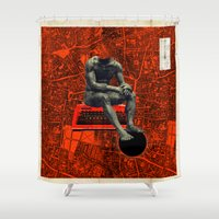 boxer Shower Curtains featuring Boxer by Frank Moth