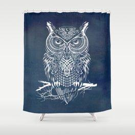Warrior Owl Night Shower Curtain
