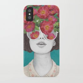 The optimist // rose tinted glasses iPhone Case