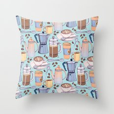 Coffee Love on Blue Throw Pillow