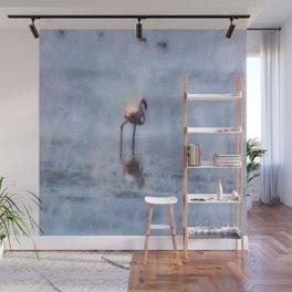 Solitary Flamingo Watercolor Wall Mural
