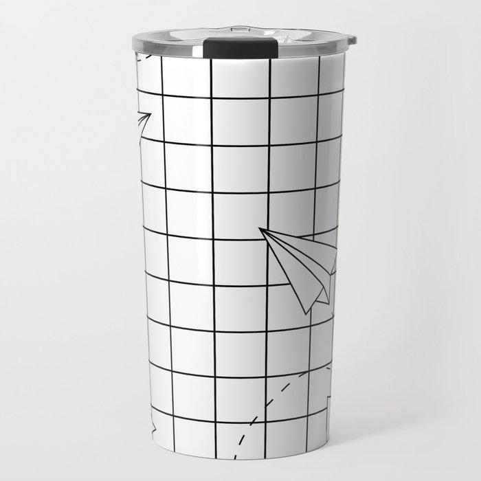Paper Planes Grid Travel Mug