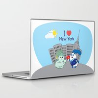 coraline Laptop & iPad Skins featuring Ernest and Coraline | I love New York by Hisame Artwork