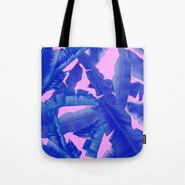 tropical banana leaves pattern,pink,blue Tote Bag