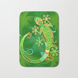Gecko Lizard Colorful Tattoo Style Bath Mat