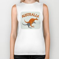 australia Biker Tanks featuring Kangaroo Australia by mailboxdisco