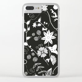 Black White Boho Flowers Retro Styling Pattern Clear iPhone Case