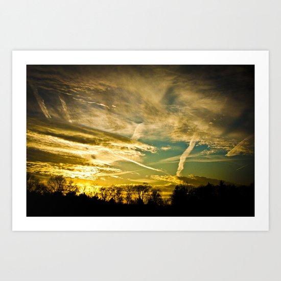 Sundown Sky Planes  Art Print
