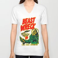 50s V-neck T-shirts featuring BEASTWRECK ATTACKS! by BeastWreck