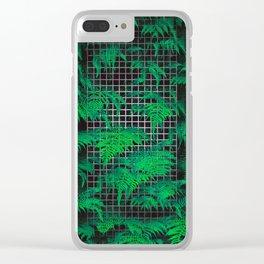 Fern Grid Plant Wall Clear iPhone Case