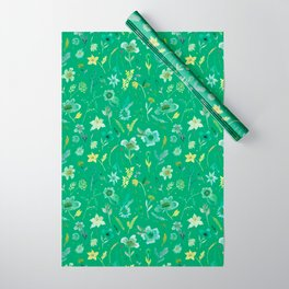 Verdant Flowers on Emerald Background Wrapping Paper