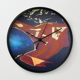 Backview of A Young Woman Dancing In A Night Club Wall Clock