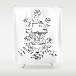 Antique Typewriter Entwined in Roses Shower Curtain