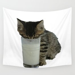 Cute Wild Kitten With A Glass Full of Optimism Wall Tapestry
