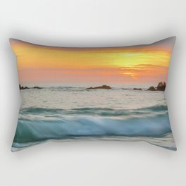 Golden sunset with turquoise waters Rectangular Pillow