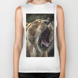 Yawning Female Lion Biker Tank