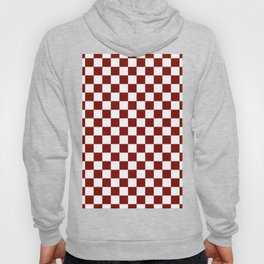 Vintage New England Shaker Barn Red and White Milk Paint Jumbo Square Checker Pattern Hoody