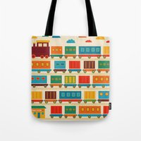 train Tote Bags featuring Train by Kakel