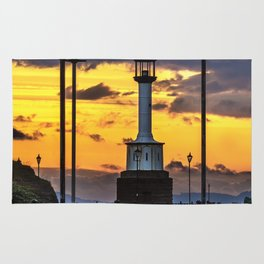 Maryport Lighthouse At Sunset Rug