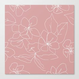 Floral Drawing on Pale Pink Canvas Print
