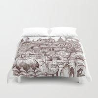 india Duvet Covers featuring Jaipur, India by Justine Lecouffe