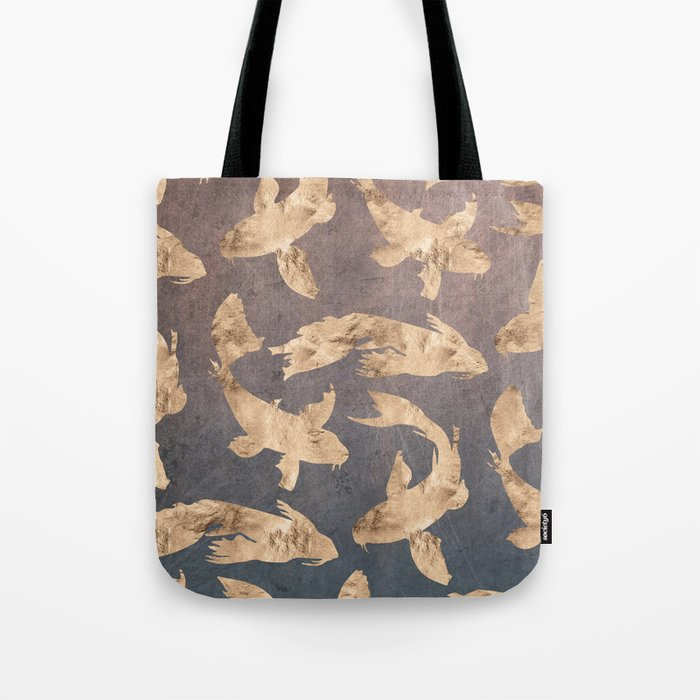 Koi at dusk - scratched leather Tote Bag