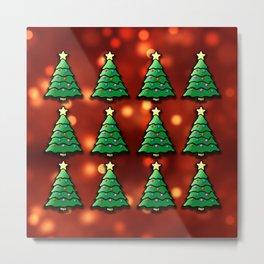 Merry Christmas Tree Pattern Metal Print