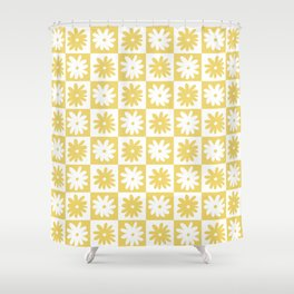 Yellow And White Checkered Flower Pattern Shower Curtain