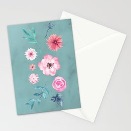 Watercolor Flowers on Limpet Shell Marble Stationery Cards